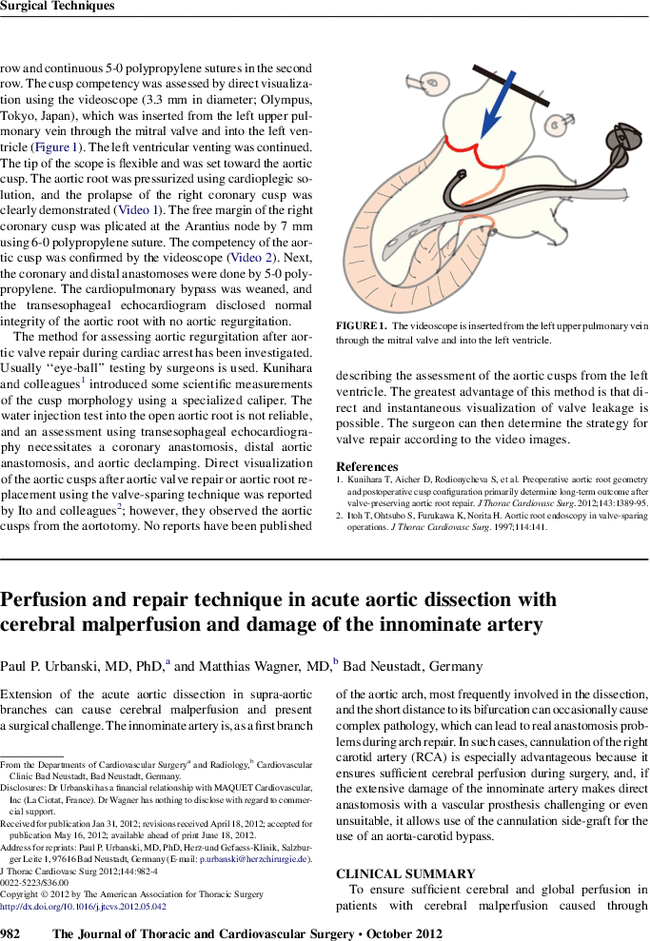 Perfusion and repair technique in acute aortic dissection with ...
