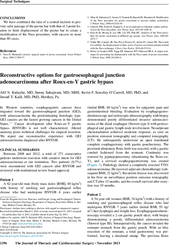 Reconstructive options for gastroesophageal junction adenocarcinoma ...