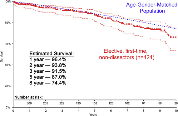 Favorable late survival after aortic surgery under straight