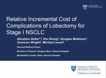 Relative incremental costs of complications of lobectomy for